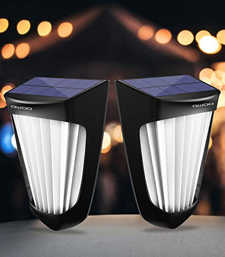 Solarleuchte LED Solarlampe für außen, QWOO 10 LEDs außenwandleuchten solarlicht Dämmerungssensor Türlicht IP64 Wasserdichte, einzigartigem Nordischer Designstil für Garten, Garage, Balkon (2 Stücke)