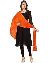 Nakoda Creation Women's Solid Cotton Orange Dupatta(Pack Of 1)