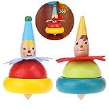 Beito 2 pièces Clown Toupie en Bois Jouet pour Enfants de Couleur Toupies Cadeau Parfait pour Les Enfants