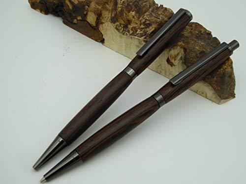 Schreibgerät-Unikat-Kugelschreiber Bleistift Set handgedrechselt Wenge Holz