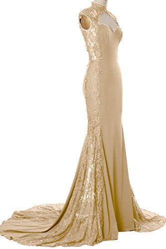 MACloth Women Mermaid High Neck Long Prom Dress Lace Jersey Formal Evening Gown (Custom Size, Champagner) (Top Draped Jersey)