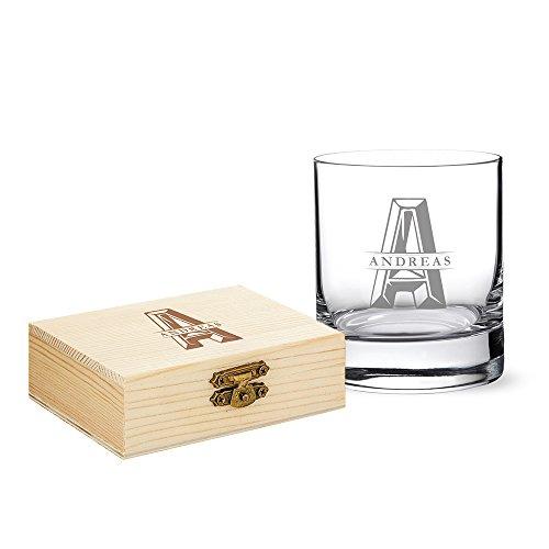 Amavel - set da whisky - bicchiere tumbler in vetro & pietre in granito con scatola in legno - personalizzati con [nome] e [iniziali] - 9 pietre raffreddanti riutilizzabili - idea regalo di compleanno
