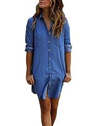 HX fashion Vestiti Donna Eleganti Estivi Corti Ragazza Camicia Vestito  Taglie Forti Blu Abito di Jeans Manica Lunga… 0898b6f7973
