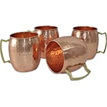TeraShopee® Solid Copper Moscow Mule Mug / Cups 550 ML / 18 oz - Set of 4 - 100% Pure Copper Hammered Best Quality by Terashopee