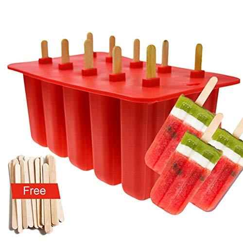 10 STÜCKE Eis Am Stiel Formen Einstellen, Eiscreme-Hersteller, Nahrungsmittelgrad-Silikon-Eis Am Stiel-Form, Wiederverwendbar, Maker Fun Für Kinder Und Erwachsene Küchenbedarf,Red