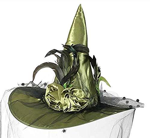 KarnevalsTeufel Luxus Hexenhut mit Schleier und Federbesatz Hexe (grün)
