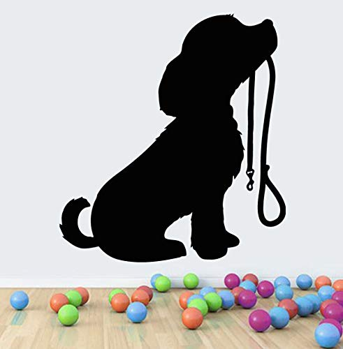 Crjzty Pet Shop Decor Vinyl Hündchen Mit Kragen Wandtattoo Abnehmbare Pet Puppy DogWandaufkleberKinderzimmerWandkunstWandbild42x46 cm