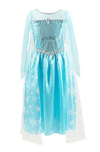Mchll Frozen Kostüm Frozen Jahre 120 4-5 Jahre Mit Elsa Brosche Schneekönigin-Kleid-Mädchen-Satin-Mädchen-Karikatur (Überprüfen Sie die Größe von Maßnahmen in (Up Kleid Dressing Frozen)