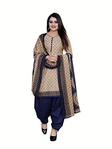 Rajnandini Women's Beige Cotton Printed Unstitched Dress Material(JOPLPDP1006_Beige_Free size)