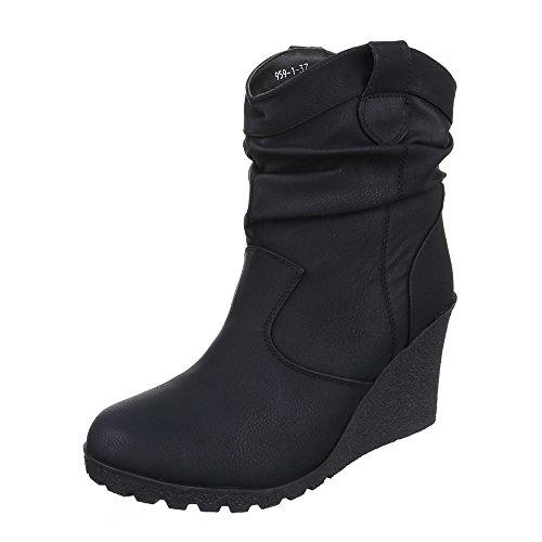 Keilstiefeletten Damen Schuhe Plateau Keilabsatz/ Wedge Warm Gefütterte Ital-Design Stiefeletten Schwarz, Gr 38, B06-