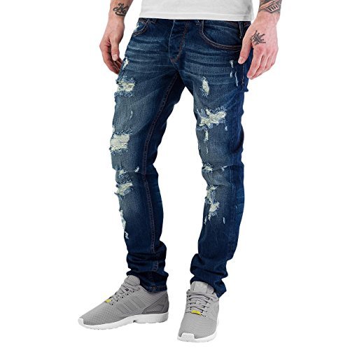 Just Rhyse Destroyed Herren Straight Fit Jeans Blau Blau