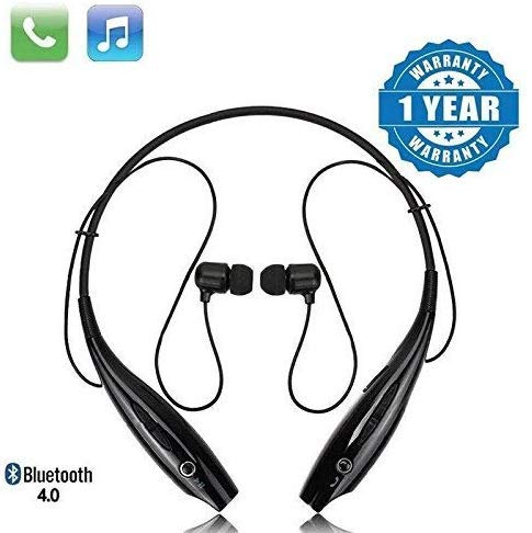 VOSAVO Bluetooth Wireless Headphones Sport Stereo Headsets Hands-Free with Microphone and Neckband for Android and Apple Devices (Black)