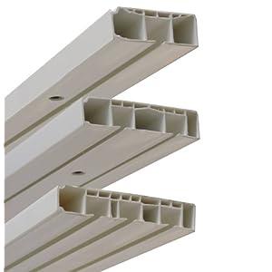 Garduna Gardinenschiene Vorhangschiene, 1-/ 2-/ 3-läufig, Kunststoff, weiss (2-läufig 300cm (2x 150cm inkl. Verbinder))