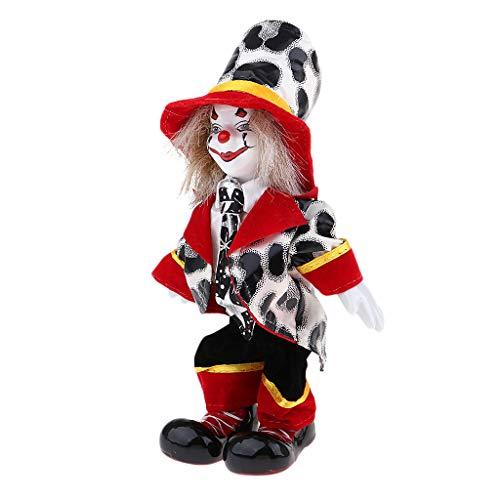 KESOTO Lustige Stehende Porzellan Puppe mit Clown Kostüm, Ornament für Halloween Haus Tisch Dekoration - # 3