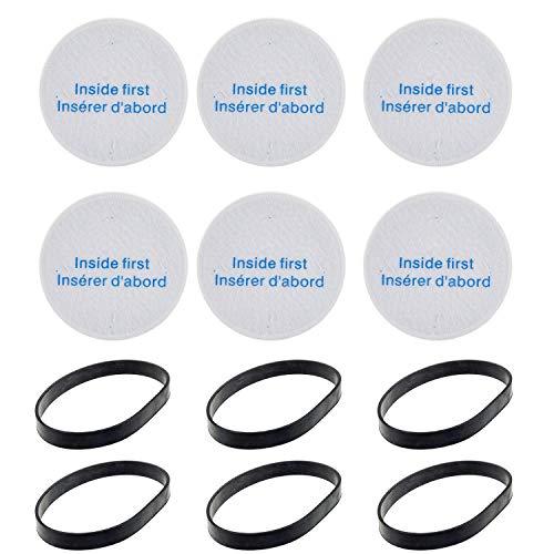 Ersatz-Set kompatibel mit Eureka NEU188A, NEU180B, NEU190, NEU180A, NEU192A Powerspeed Lightweight & Pro Swivel Plus Standstaubsauger (6 Filter + 6 Riemen)