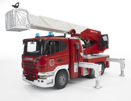 Image of Bruder Scania R-Series Fire Engine Slewing Ladder, Water Pump and Lights and Sounds Module