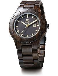 Uwood Handmade Black Sandal Wooden Japanese Quartz Movement Wood Watch For Men Sandalwood Wristwatch