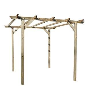 Gazebo Pergola in legno nordico trattato per esterno 3x3mt arredo giardino 05-25