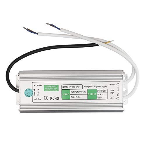 BAODE DC 12V Etanche Transformateur LED Transfo Alimentation 10-200W 230V à DC 12V, Adaptateur d'alimentation électrique Driver Convertisseur pour Stripe (100W/8.5A) [Classe énergétique A]