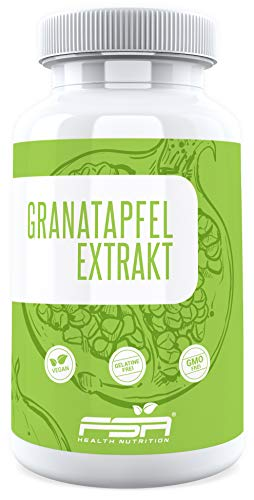 Granatapfel Extrakt 90 Kapseln, 500 mg pro Kapsel, 40{44ca9fe0fea9ebddb2064ce01962a160e719f37fd6e32e54e0fee91c8fafa31d} Ellagsäure, Vegan - Made in Germany - FSA Nutrition