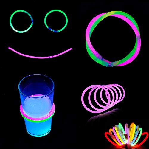 (100 Stk Premium Knicklichter Neon Party Dekoration deko Set Glow Sticks sicher Kinder Ring extra ultra mega light Ohrringe)