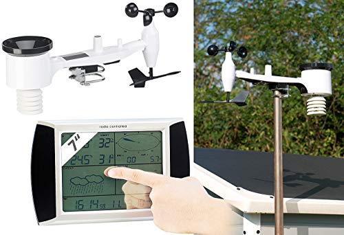 infactory Niederschlagsmesser: Wetterstation-Set mit Touchscreen-Display & Außenstation, PC-Anschluss (Wetterstation PC Anbindung)