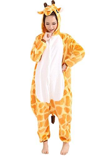 Tonwhar Kigurumi Pyjama Adulte Anime Cosplay Halloween Costume Onesie (S(Height:150cm-159cm), Girafe)