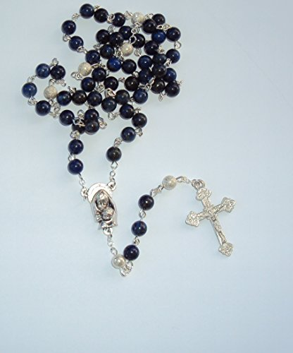 großer Rosenkranz mit 59 Perlen, gefertigt aus echtem, dunkelblauem Lapislazuli, sehr Edel, aus eigener Herstellung. Exklusiv und ein Unikat zur Geburt, Taufe, Kommunion und anderen Anlässen