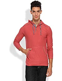ARISE Regular Fit Round Neck Men's Hooded Red T-Shirt for Men - Casual Men's Tees