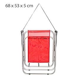 Aktive 53967 – Sedia Pieghevole Fissa Alluminio Beach 47x54x75 cm – Rosso