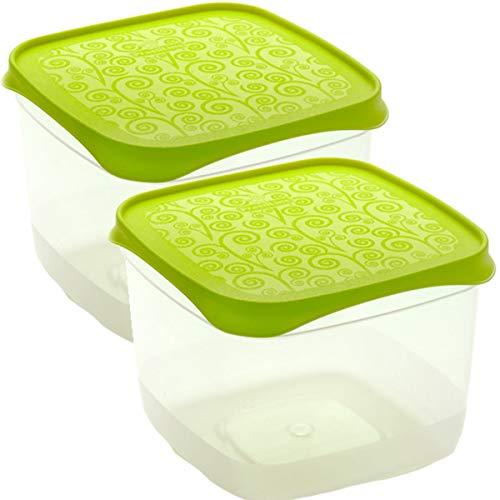 Bittamina Set de 2 Coupelles hermeticos carrés avec couvercle vert lime de 0,6 l - BPA Free.