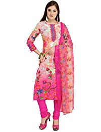Kanchnar Women's Cotton Pink and Cream Unstitched Salwar Suit