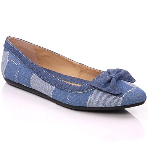 Unze 'Bowe'punta piatta, da donna, stile Casual, con pompe per scarpe Blu (blu)