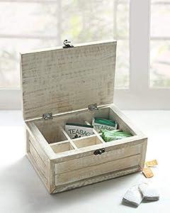 Store Indya - Boîte à thé en bois faite main avec boîte à café 6 compartiments - Porte-sachets Organisateur de poitrine - Boîte à thé en forme d'oiseau sur feuille - Fini vieilli Shabby Chic blanc