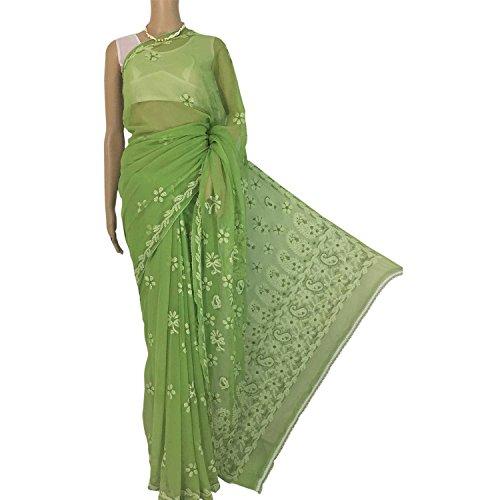 R'ZU Women's Green and White Chikankari Georgette Saree