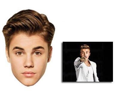 Justin Bieber Karte Partei Gesichtsmasken (Maske) - Enthält 6X4 (15X10Cm) (Bieber Kostüme)