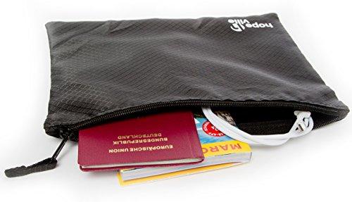 HOPEVILLE Reißverschlusstaschen-Set, 3 verschieden große Reiseorganizer Taschen für Dokumente und Reiseutensilien, Premium Packbeutel-Set für Reise, Freizeit und Ausflug (Schwarz)