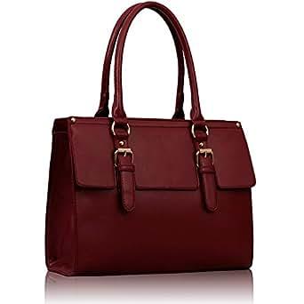 Damen rote Burgunder Handtasche Leder Stil Handtasche Damen Ärzte Tasche KCMODE