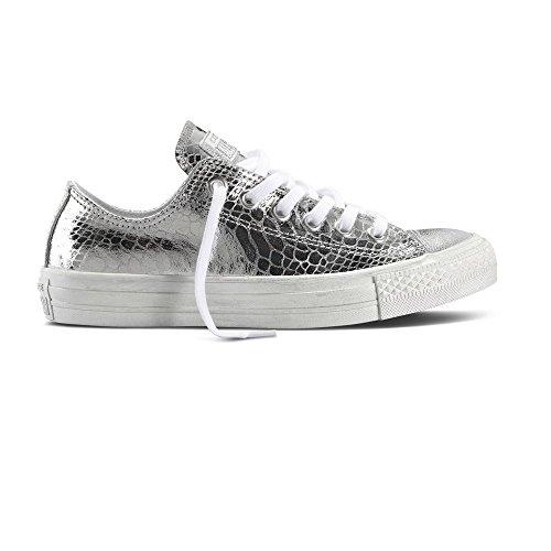 Converse Damen Schuh Chuck Taylor Ox Schlangenhautmuster Silber / weiß, Größe:42 (Star Silber Damen Converse All)