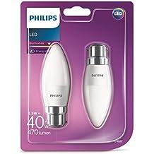 Philips LED (5,5W (40W), Blanco cálido, Escarchado–Pack de 2de bombilla luz de vela B22, casquillo de bayoneta, B22,, 5. Watts, 2unidades)