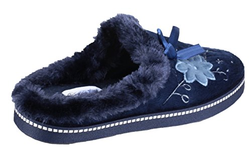 Mirak Ladies Dijon Faux Fur Accented Textile Stitch Slipper Navy Bleu roi
