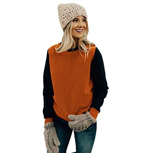 Damen Sweatshirt Teenager Mädchen Herbst Winter MYMYG Frau Lässige Lange Ärmel Stitching Color Bluse Sweatshirt Top(Orange,EU:38/CN-L)