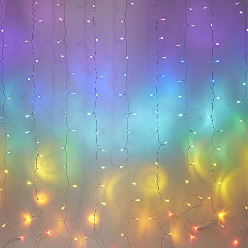 Led Lichterkette Innen Außen Lichterketten Vorhang Bunt Lichtervorhang Bunte Licht Beleuchtung Regenbogen Dekoration Outdoor Garten Schlafzimmer Hochzeit Party Deko Weihnachten Kinderzimmer Mädchen