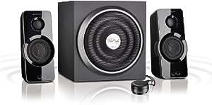 Speedlink Gravity Veos aktives 2.1 Lautsprechersystem (37 Watt RMS Gesamtleistung, Tischfernbedienung, Klavierlackoptik) schwarz