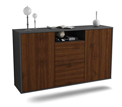 Sideboard Dayton hängend (136x77x35cm) Korpus anthrazit matt   Front Holz-Design Walnuss   Push-to-Open