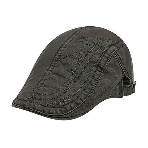 Herren Flat Cap Baumwolle verstellbare Kappe Gesteppte Stickerei Duckbill Newsboy Gatsby Irish Hut Hut (Color : ArmyGreen, Size : M)