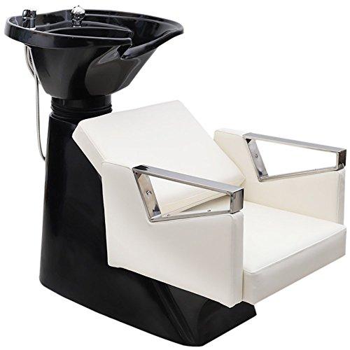Hairdressing Backwash Chair Salon Hair Wash Unit Shampoo Basin Recling Barber Hair Washing Chair w/Basin Mixer Sink Unit(65 X 115 x 110cm), Ivory White+ Black, Qivange