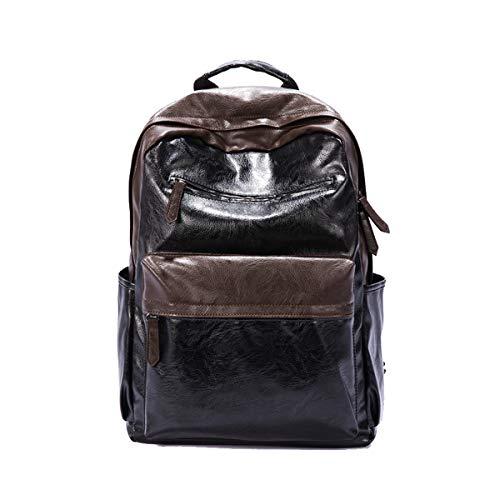 (Yslin Business Arbeit Rucksack Herren Groß Backpack Daily Casual Schulrucksack Rucksäcke Laptop PU Leder Laptoprucksack 14 Zoll (Schwarz))