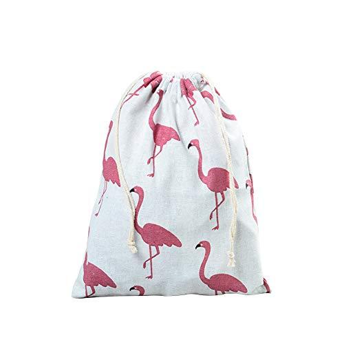 Treestar 1pc fenicottero custodia da viaggio borsa in tela di lino sacchetto regalo a cordino natale halloween (3size), cotone e lino, blanc-25 * 20 cm, 25 * 20 cm