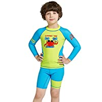 CADong Girls Boys 2PCS Swimsuit 3-8Y Swimming Set long Sleeve Swimwear Summer Beach Swimming Costume Outfit Sun suit (Blue, L)